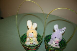 2 Cute Little Easter Bunnies in a Basket $2.00
