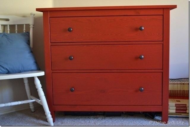 Hemnes Red 3 Chest Drawers Solid Wood Ikea Bedroom Furniture Dresser