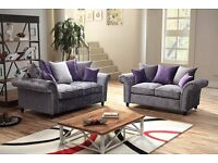 BRAND NEW MARILYN SHIMMER GLITZ CRUSHED VELVET 3+2 SEATER SOFA, CORNER SOFA & ARMCHAIR IN SILVER!!!