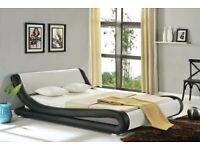 Italian style faux leather sleigh bed