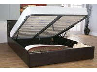 FREE DELIVERY /// KING SIZE OTTOMAN STORAGE BED FRAME IN BLACK / BROWN AND MATTRESS