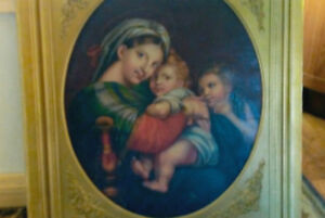 """Raphael adapted """"MADONNA OF THE CHAIR"""" Oil on canvas"""