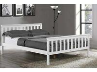 White wood bed frame