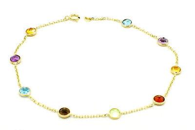 Round Shaped Gemstone Bracelet (14K Yellow Gold Round Shaped Gemstone Bracelet 7.25)
