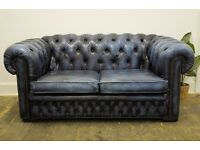 Leather Chesterfield Two Seater Button Back Sofa