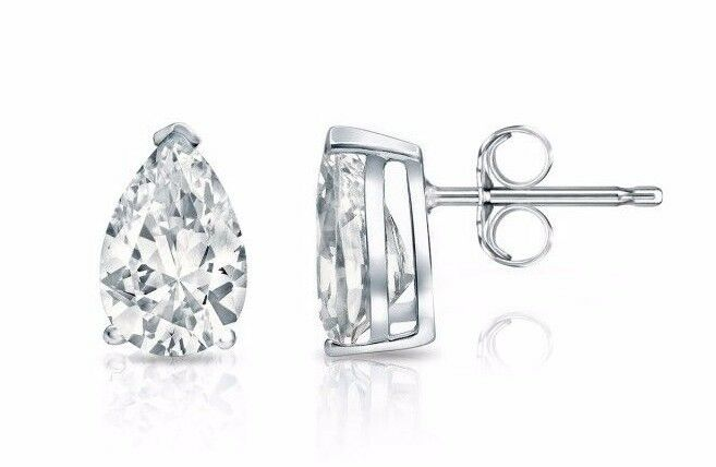 1.00 Ct Diamond Stud Earrings 14K White Gold Over Pear Shape Womens Stud Earring
