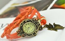 VINTAGE BRACELET WOMEN WRIST WATCH WITH ANGEL PENDANT- ORANGE