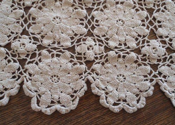 """True Vintage Ecru Queen Annes Lace Crochet Tablecloth 76"""""""