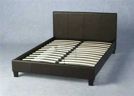 Faux leather king-size bed with mattress