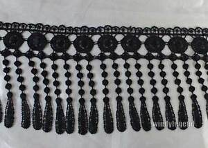 3 Yards Venise Fabric Polyester Black Lace Curtain Trim Lamp Fringe Craft