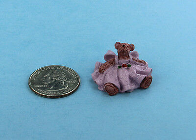 Adorable Dollhouse Miniature Resin Teddy Bear in a Pink Dress #S6398