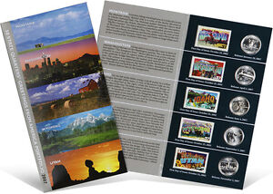 USPS-State-Quarters-and-Stamps-Portfolio-MT-WA-ID-WY-UT