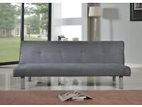 Faux Suede 3 Seater Quality single Sofa Bed - Click Clac fabric sofabed in grey