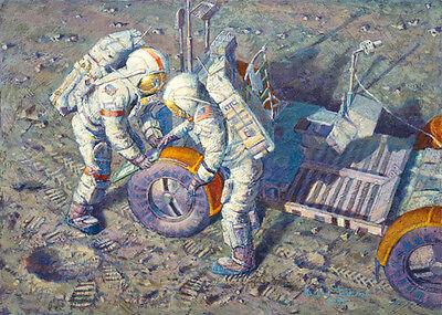 Alan Bean FENDER LOVIN' CARE, Moon landing, Apollo giclee canvas, Lunar Rover