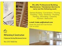 HANDYMAN - Building Services, Painting, Decorating, Electricity, Plumbing, Carpentry, etc