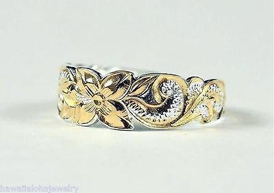 6mm 2-Tone Sterling Silver 14k Gold Plated Hawaiian Princess Scrolls Toe Ring