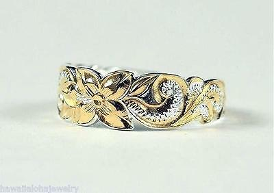 6MM 2-TONE YELLOW GOLD PLATED 925 STER SILVER HAWAIIAN PRINCESS SCROLLS TOE RING
