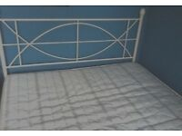 Double bed Excellent Condition Metal Cream Frame Good Clean Mattress Collect Formby Merseyside