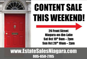 Estate Sale this weekend in Niagara on The Lake 26 Front St. N.