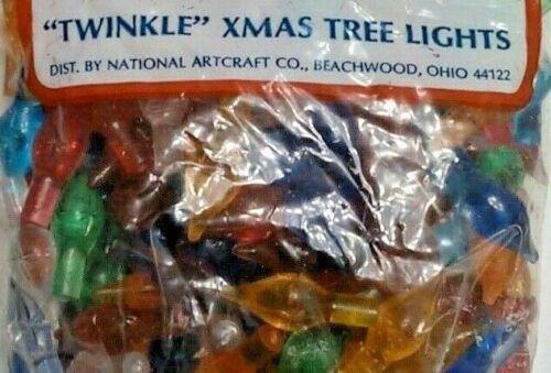 Star Twinkle Medium Lights Pegs Ceramic Christmas Tree Bulbs VINTAGE 25 Per Bag