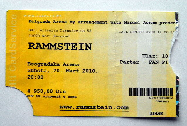RAMMSTEIN RARE CONCERT TICKET BELGRADE 20TH MARCH 2010.