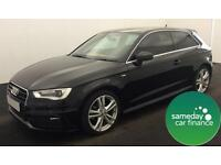 ONLY £223.62 PER MONTH BLACK 2012 AUDI A3 1.4 TFSI S LINE 3 DOOR PETROL MANUAL