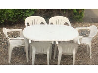 Plastic garden table and chairs white