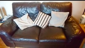 2 Seater Leather Sofa, Armchair and footstool