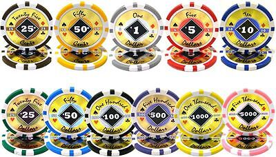 NEW 500 PC Black Diamond 14 Gram Clay Poker Chips Bulk Lot Pick Your -