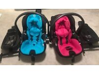 Pink and blue car seat