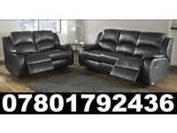 NEW HARVEYS LEATHER RECLINER SOFA BLACK OR CHOCOLATE BROWN 07697