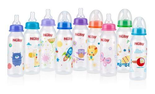 Nuby Non-Drip Standard Neck 8oz Baby Bottles - 3 Pack - BPA Free - Anti-Colic