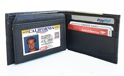 Black Men Genuine Leather Front Pocket Plain Window ID Bifold Wallet Flap Top ID