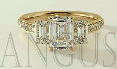 Real 14K Yellow gold 3.66ct Diamond Emerald cut Anniversary Engagement Ring