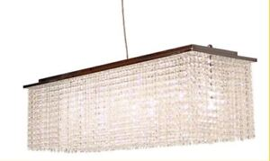 Stunning rectangular hanging crystal chandelier for dining room