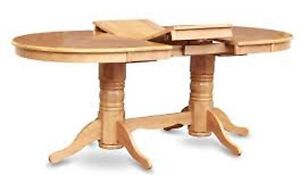 Double pedestal dining table with  two gull wing leafs