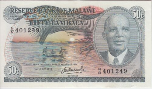 MALAWI BANKNOTE P13b-1249, 50 TAMBALA 1.7.1978, EF
