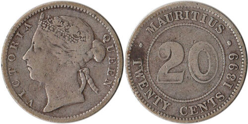 1899 Mauritius 20 Cents Silver Coin KM#11.1 Mintage 500,000