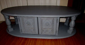 Vintage Grey Oval Antiqued Coffee table with storage