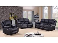 New Black Leather 3 2 1 Recliner Sofas Couch Settee