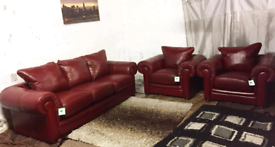 * real leather 3 seater sofa with 2 chairs