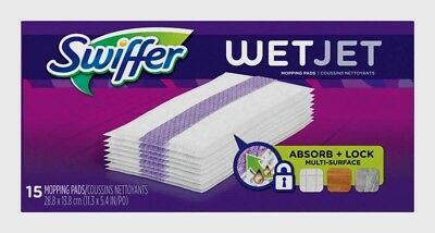 SWIFFER 15ct WetJet Cleaning Mopping Pads Floor Cleaner Refill Cloths Dust 99042 for sale  Shipping to India