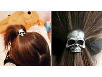 4 Silver Skull Hairbands