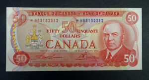 1975 $50 Bank of Canada Banknotes *HB Replacement Note -AU