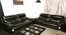 ••• Dfs ex display real leather 3+3 seater sofas