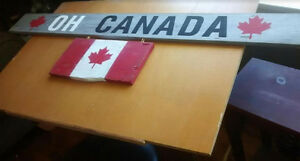"Hand-Painted ""OH CANADA""  Barn Wood Sign w/ Flag Attachment"