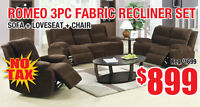 Romeo 3pc Fabric Recliner Set, $899 Tax Included!