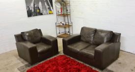 ScS - Italian Leather 2 Seater & Armchair