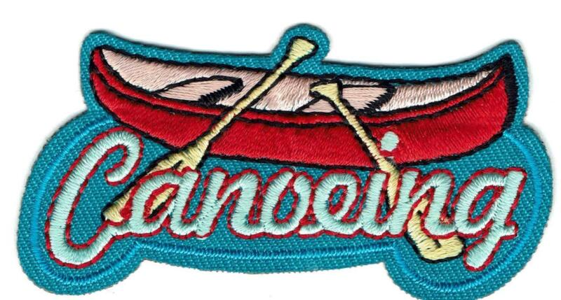 Girl Boy Cub CANOEING FUN Patches Crest Badges SCOUT GUIDE canoe trip river