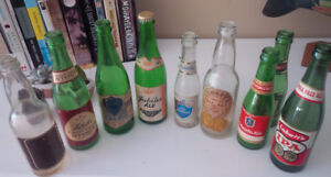 9 Old Local Beer Bottles, Blue Top, India Pale Ale, Etc.